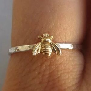 Two Tone Silver & Yellow Gold Bee Ring